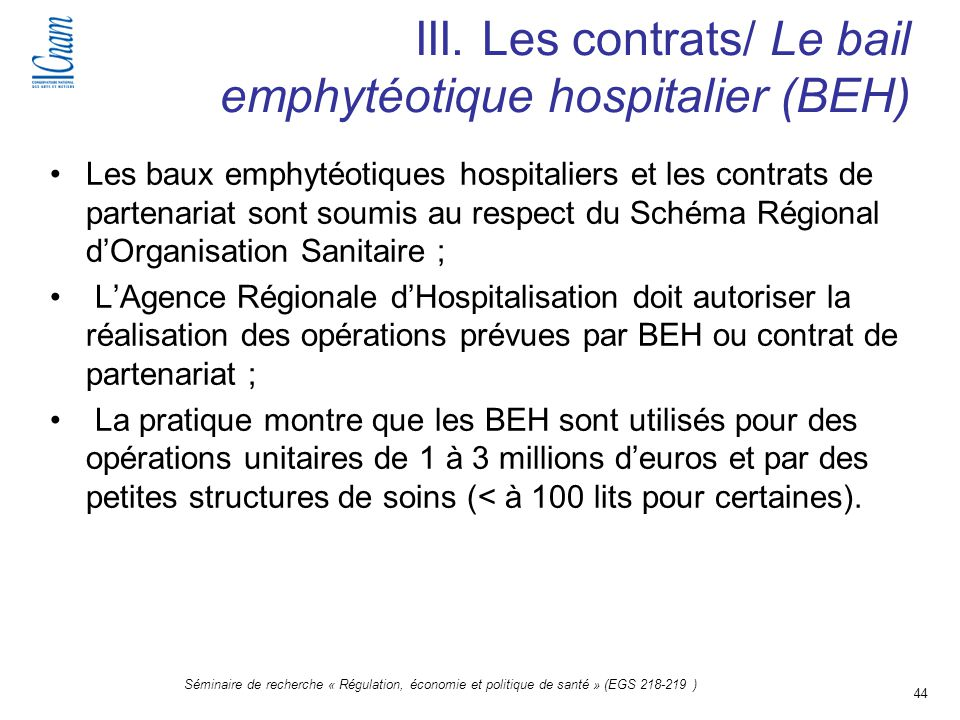 III. Les contrats/ Le bail emphytéotique hospitalier (BEH)