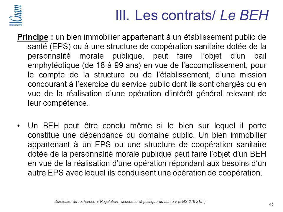 III. Les contrats/ Le BEH