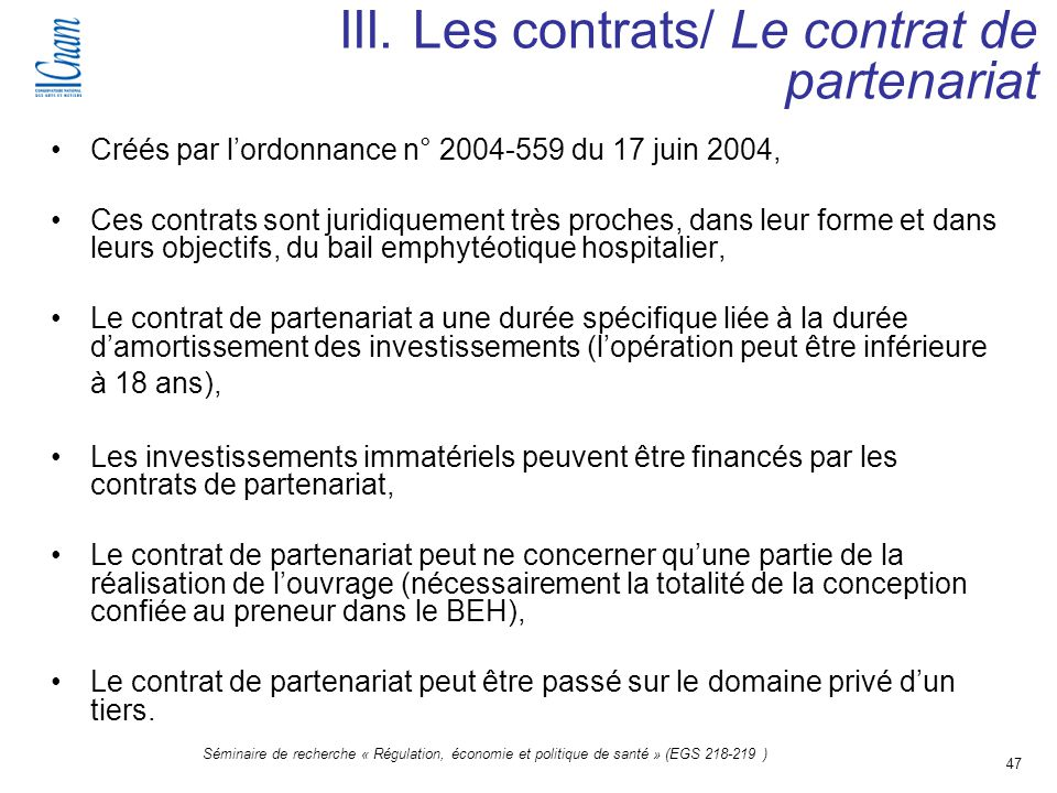III. Les contrats/ Le contrat de partenariat