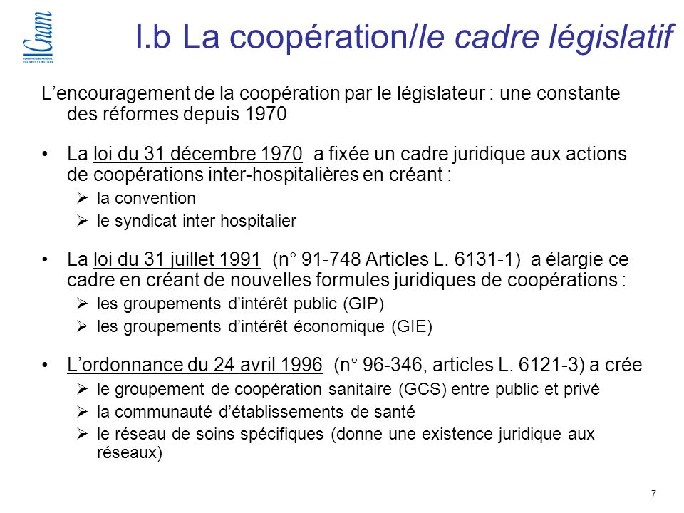 I.b La coopération/le cadre législatif