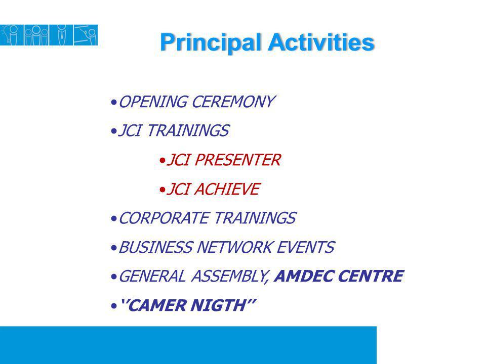 Principal Activities OPENING CEREMONY JCI TRAININGS JCI PRESENTER
