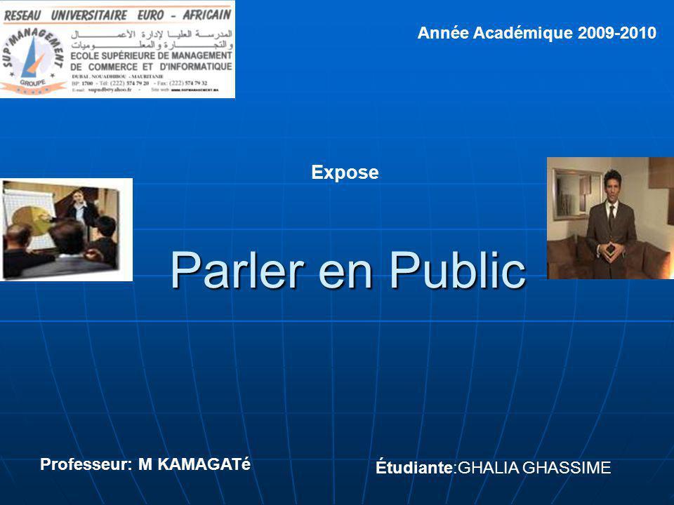 Parler en Public Expose Année Académique 2009-2010