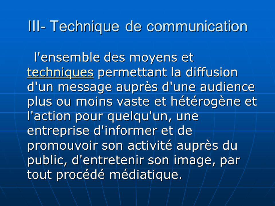 III- Technique de communication