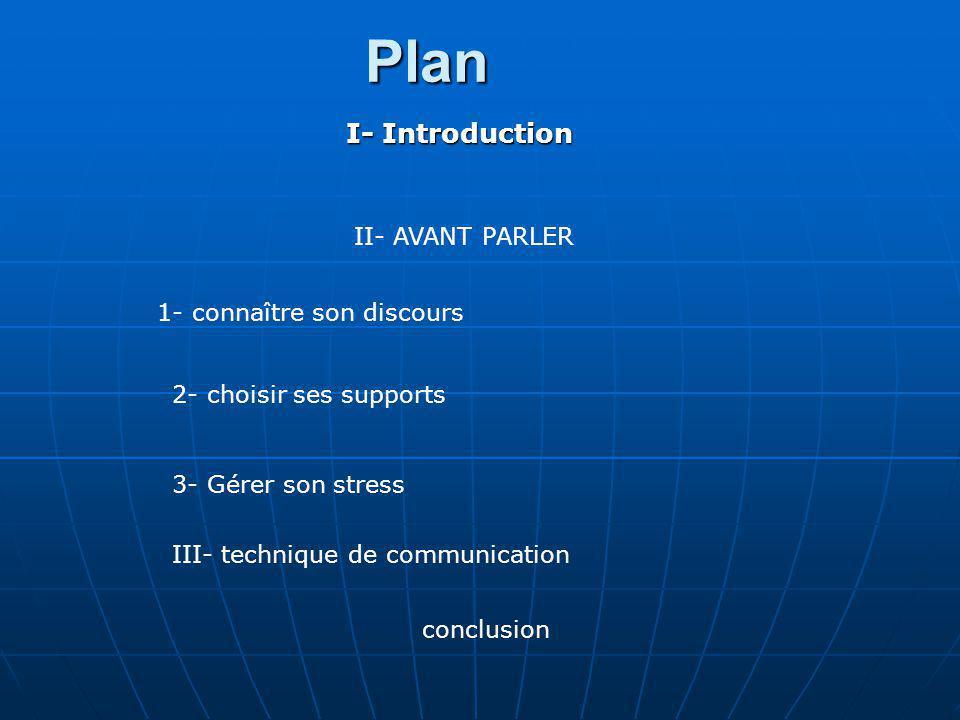 Plan I- Introduction II- AVANT PARLER 1- connaître son discours
