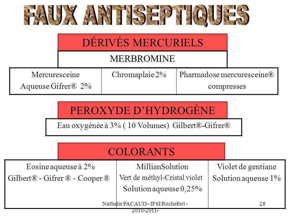 FAUX ANTISEPTIQUES DÉRIVÉS MERCURIELS PEROXYDE D'HYDROGÈNE COLORANTS
