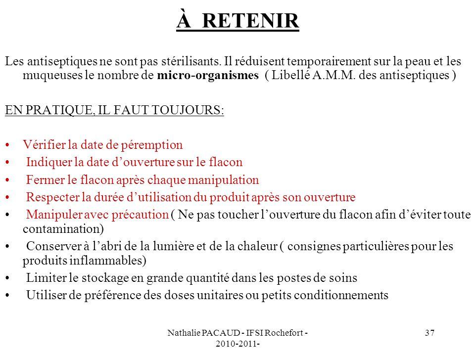 Nathalie PACAUD - IFSI Rochefort - 2010-2011-