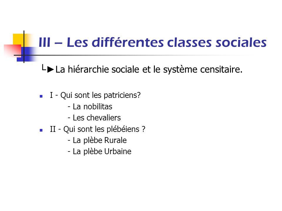 III – Les différentes classes sociales