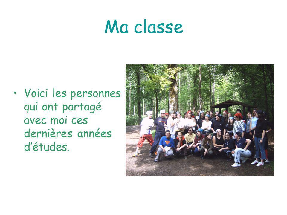 Ma classe Voici les personnes qui ont partagé avec moi ces dernières années d'études.