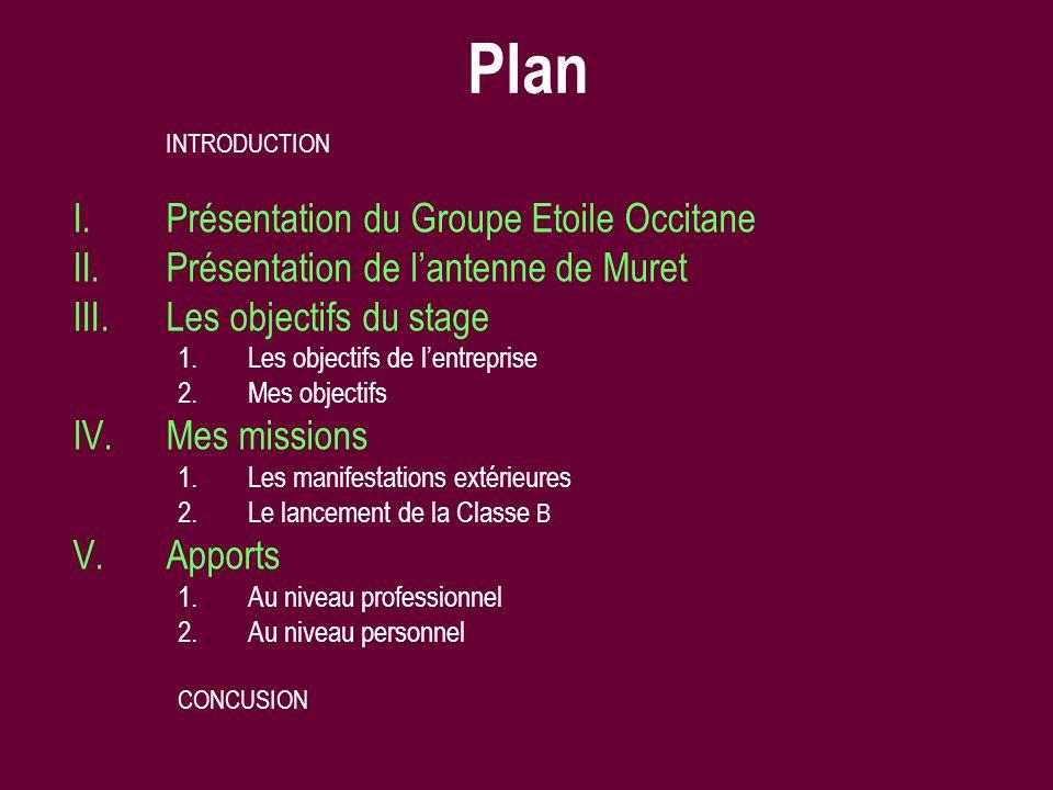 Plan Présentation du Groupe Etoile Occitane