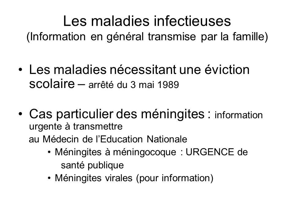 Les maladies infectieuses (Information en général transmise par la famille)