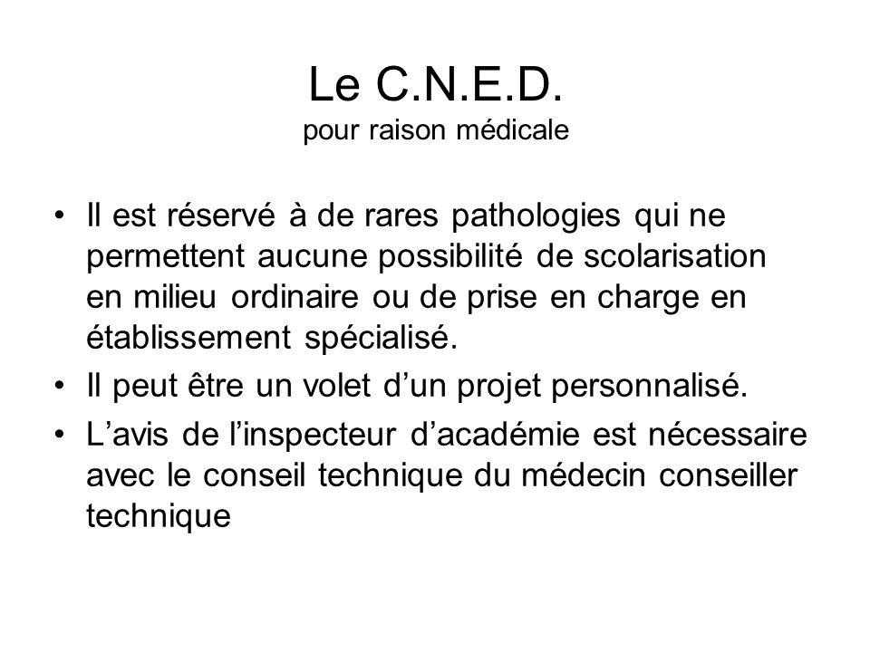 Le C.N.E.D. pour raison médicale