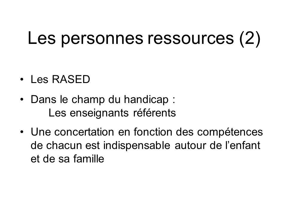 Les personnes ressources (2)