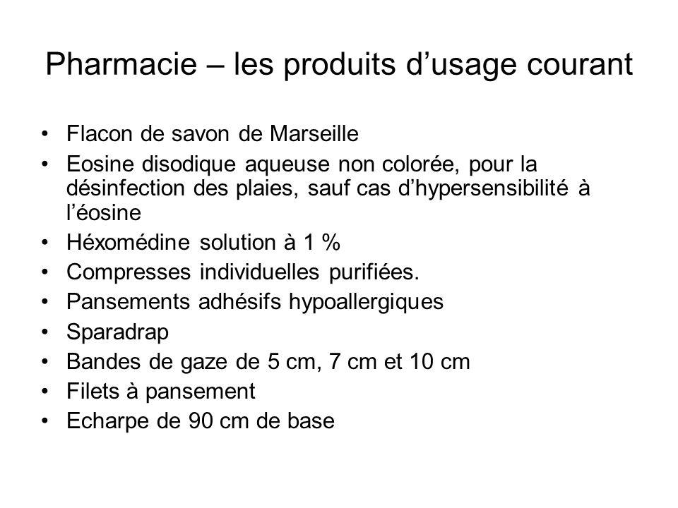 Pharmacie – les produits d'usage courant
