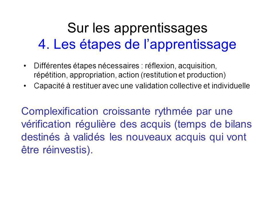 Sur les apprentissages 4. Les étapes de l'apprentissage
