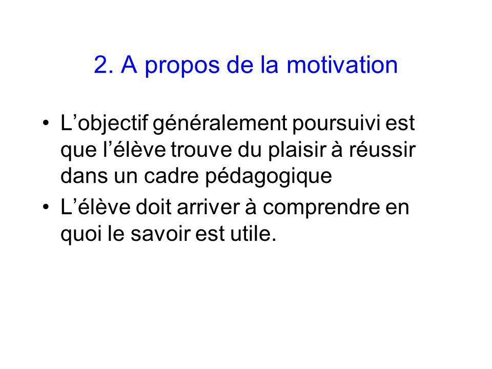 2. A propos de la motivation