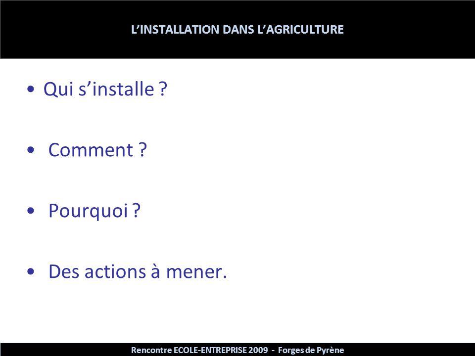 L'INSTALLATION DANS L'AGRICULTURE