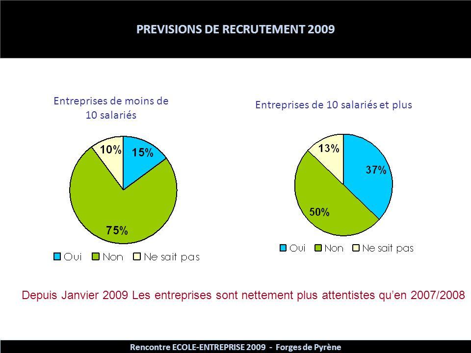 PREVISIONS DE RECRUTEMENT 2009 Entreprises de moins de 10 salariés