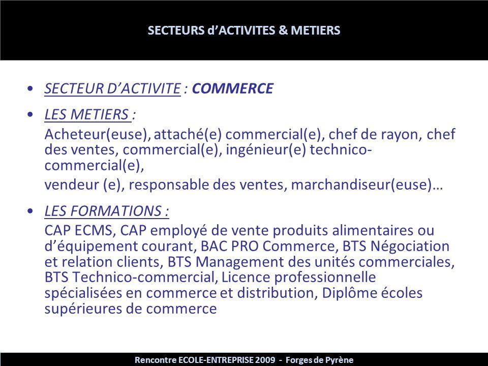SECTEURS d'ACTIVITES & METIERS