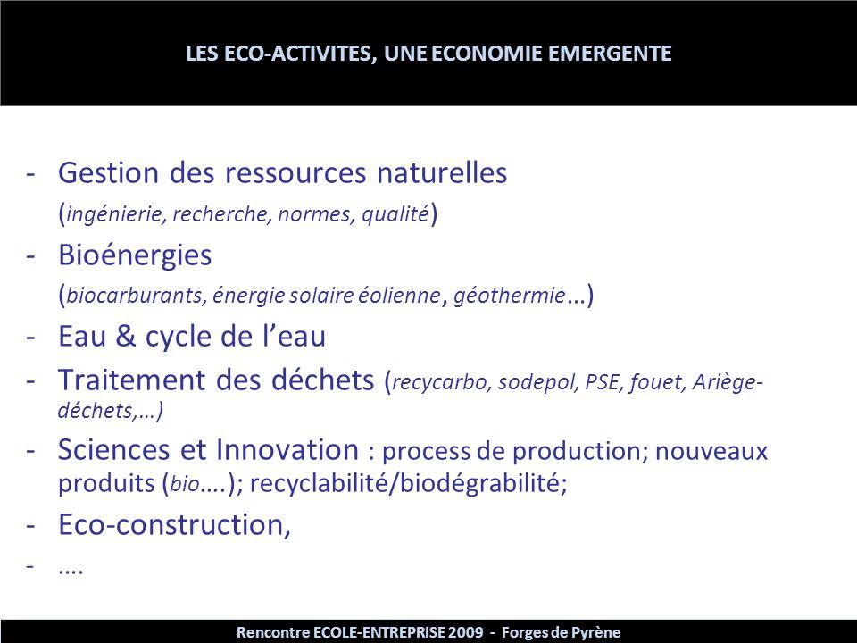 LES ECO-ACTIVITES, UNE ECONOMIE EMERGENTE