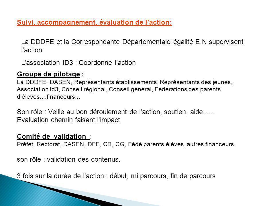 Suivi, accompagnement, évaluation de l'action: