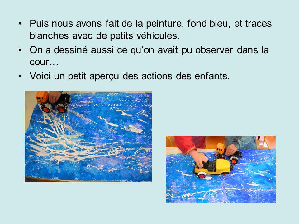 Puis nous avons fait de la peinture, fond bleu, et traces blanches avec de petits véhicules.