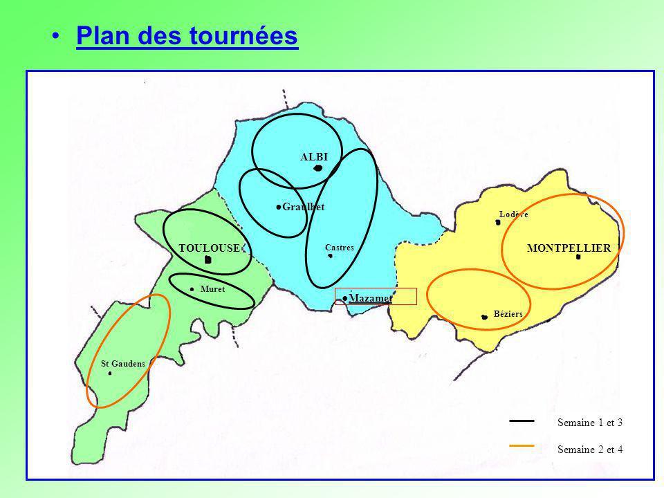 Plan des tournées ALBI ●Mazamet MONTPELLIER TOULOUSE ●Graulhet