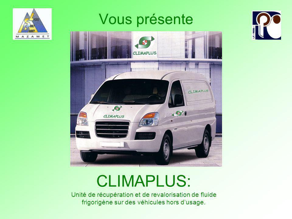 Vous présente CLIMAPLUS: Unité de récupération et de revalorisation de fluide frigorigène sur des véhicules hors d'usage.