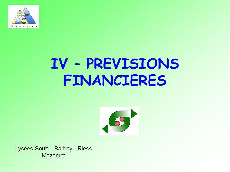IV – PREVISIONS FINANCIERES
