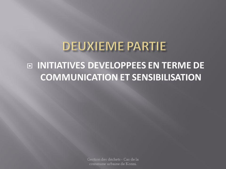 INITIATIVES DEVELOPPEES EN TERME DE COMMUNICATION ET SENSIBILISATION
