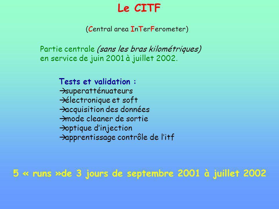 Le CITF 5 « runs »de 3 jours de septembre 2001 à juillet 2002