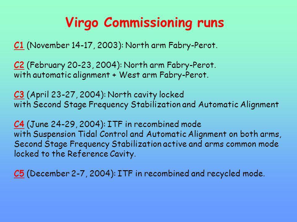 Virgo Commissioning runs