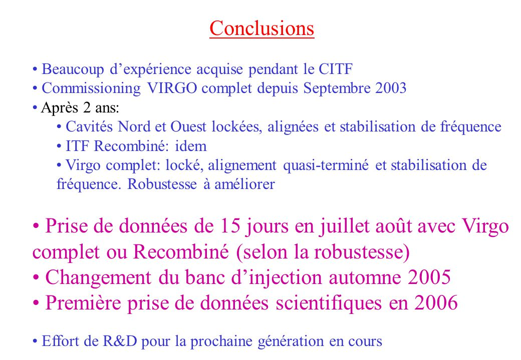 Changement du banc d'injection automne 2005