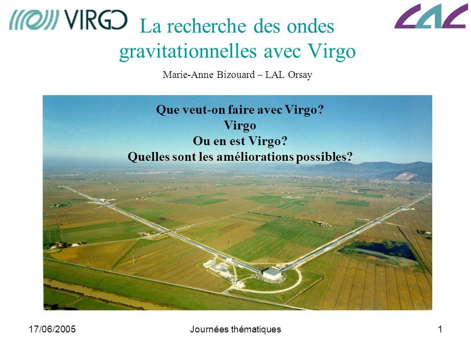 La recherche des ondes gravitationnelles avec Virgo