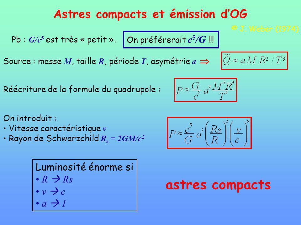 astres compacts Astres compacts et émission d'OG Luminosité énorme si