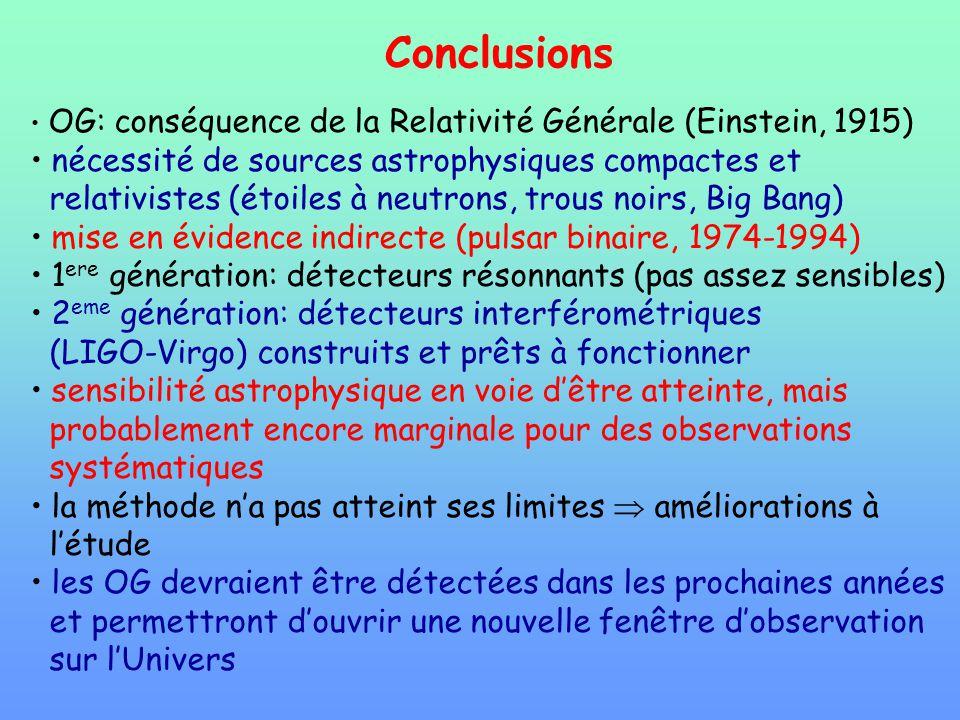 Conclusions nécessité de sources astrophysiques compactes et