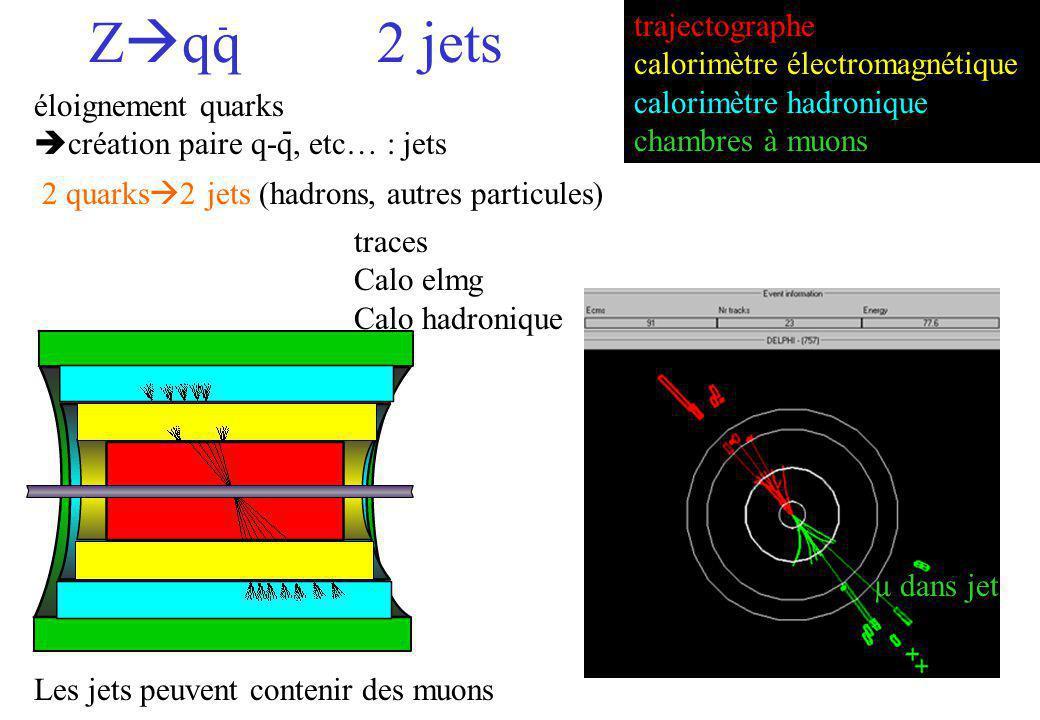 Zqq 2 jets - trajectographe calorimètre électromagnétique