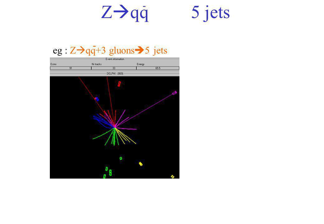 - Zqq 5 jets - eg : Zqq+3 gluons5 jets