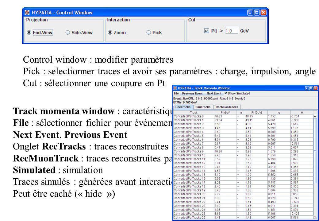 Control window : modifier paramètres