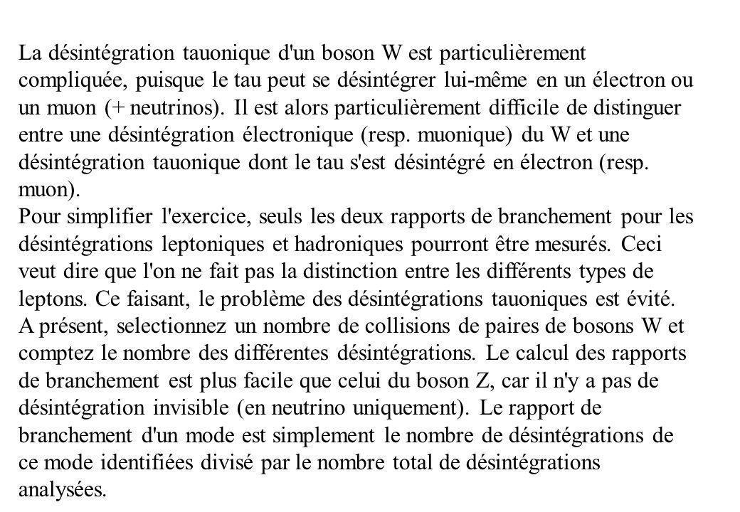 La désintégration tauonique d un boson W est particulièrement compliquée, puisque le tau peut se désintégrer lui-même en un électron ou un muon (+ neutrinos). Il est alors particulièrement difficile de distinguer entre une désintégration électronique (resp. muonique) du W et une désintégration tauonique dont le tau s est désintégré en électron (resp. muon).