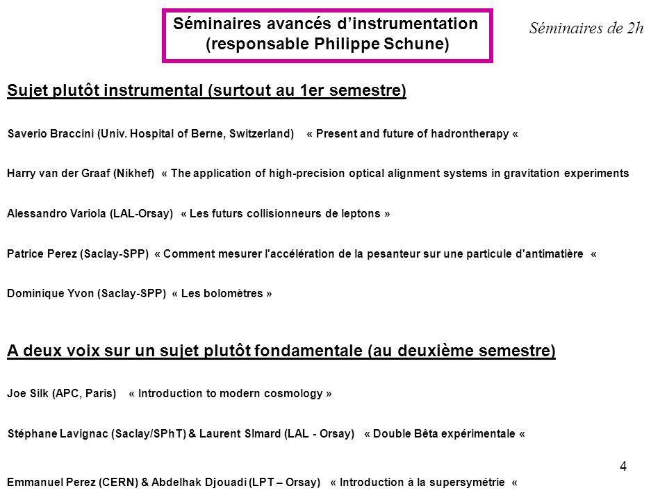 Séminaires avancés d'instrumentation (responsable Philippe Schune)