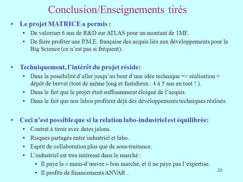 Conclusion/Enseignements tirés