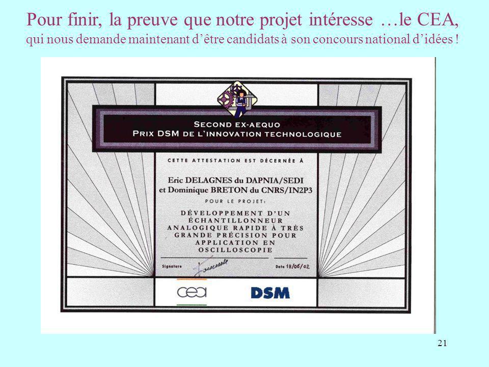 Pour finir, la preuve que notre projet intéresse …le CEA, qui nous demande maintenant d'être candidats à son concours national d'idées !