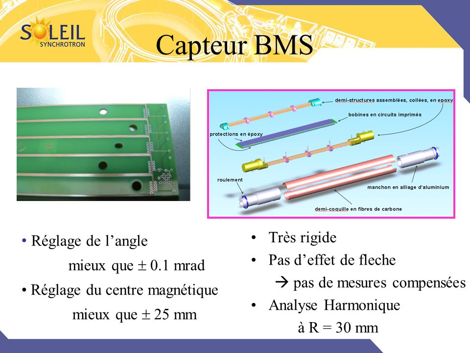 Capteur BMS Très rigide Réglage de l'angle Pas d'effet de fleche