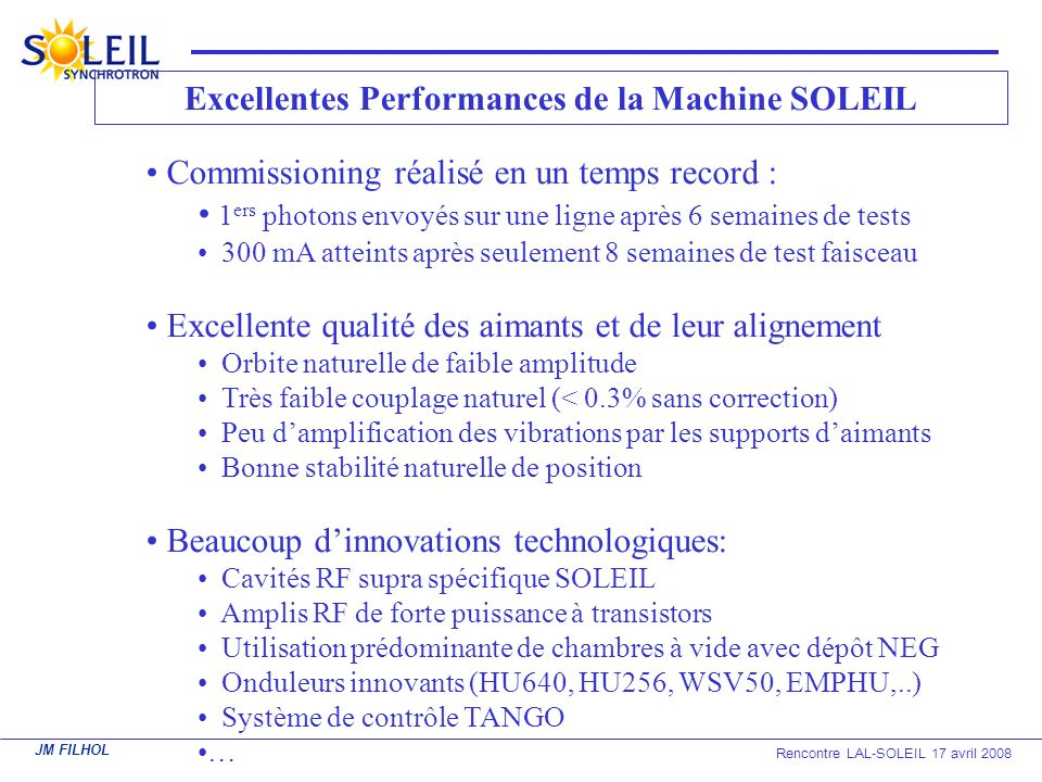 Excellentes Performances de la Machine SOLEIL