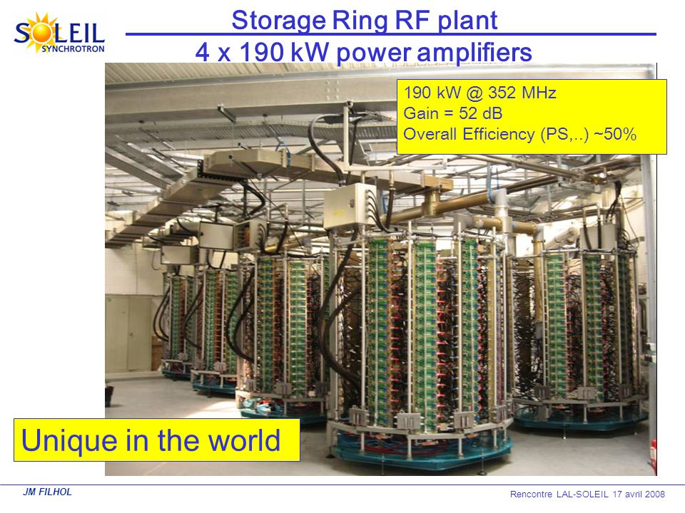 Storage Ring RF plant 4 x 190 kW power amplifiers