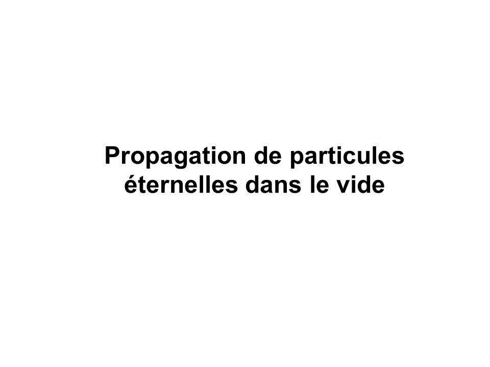 Propagation de particules éternelles dans le vide