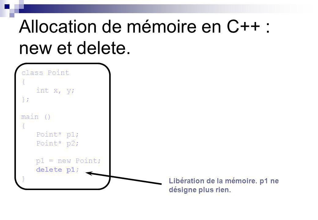 Allocation de mémoire en C++ : new et delete.