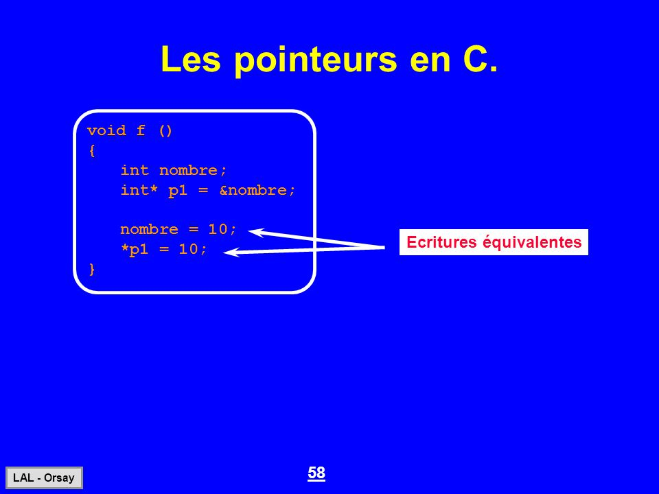 Les pointeurs en C. void f () { int nombre; int* p1 = &nombre;