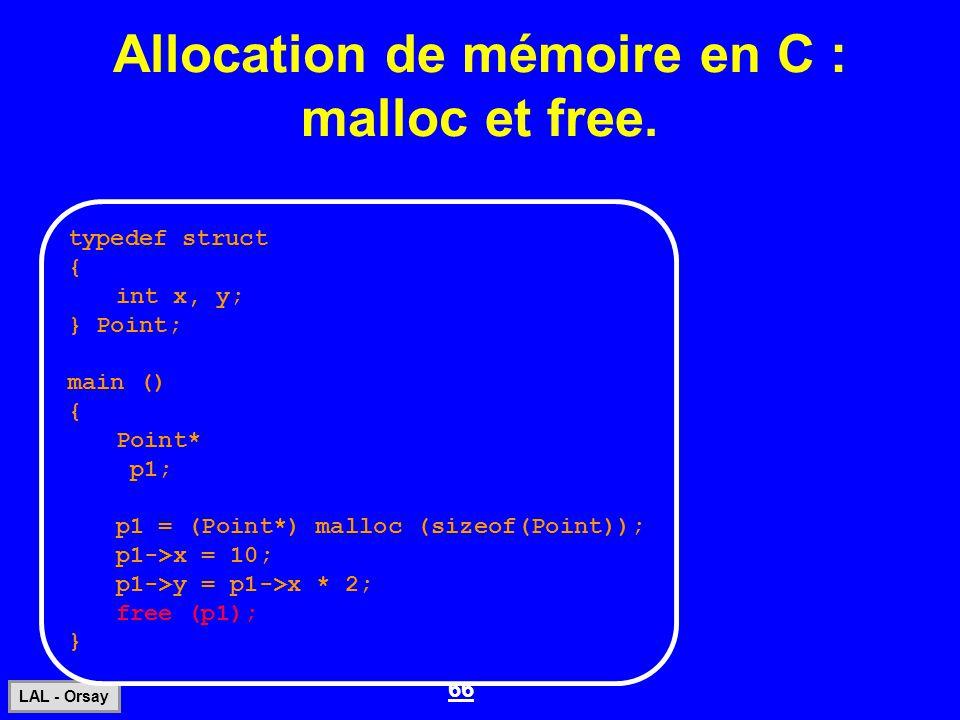 Allocation de mémoire en C : malloc et free.