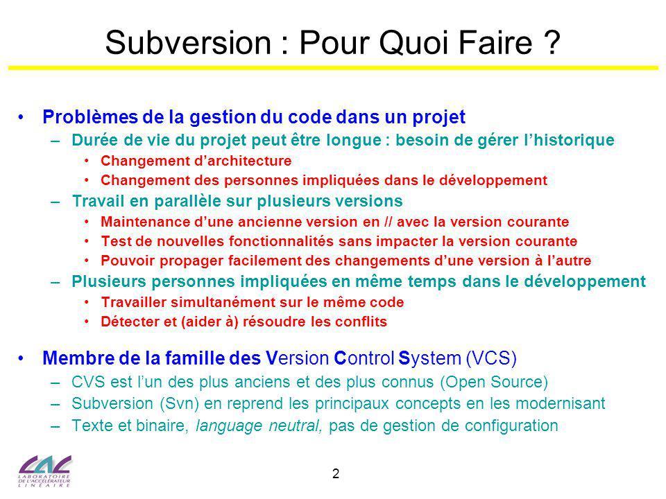 Subversion : Pour Quoi Faire